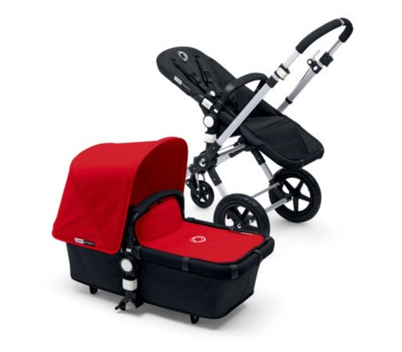 2017 Bugaboo Cameleon3 Base Aluminum- Black Extendable Tailored Fabric In Red