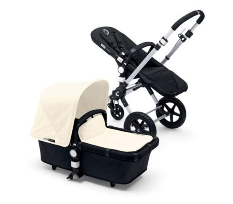 2017 Bugaboo Cameleon3 Base Aluminum- Black Extendable Fabric In Off White