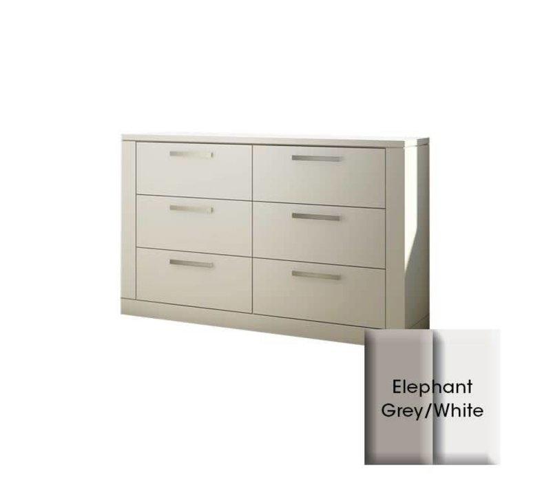 Nest Milano Drawer Double Dresser In Elephant Grey-White
