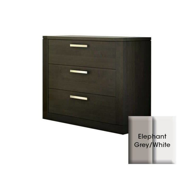 Nest Milano 3 Drawer Dresser In Elephant Grey-White