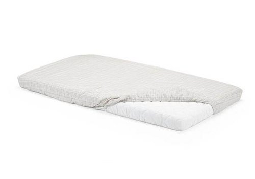 Stokke Stokke Home Bed Fit Sheet 2pc In White/ Beige Checks