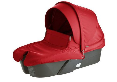 Stokke Stokke Xplory Carrycot In Silver Frame-Red Fabric