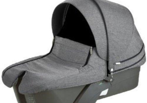 Stokke Stokke Xplory Carrycot In  Silver Frame-Black Melange Fabric