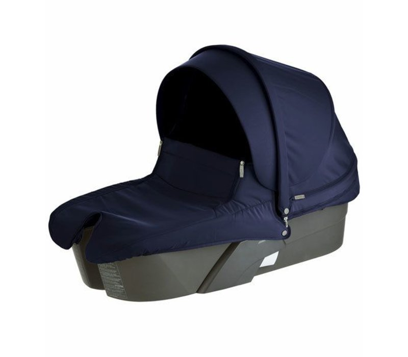 Stokke Xplory Carrycot In Silver Frame-Deep Blue Fabric