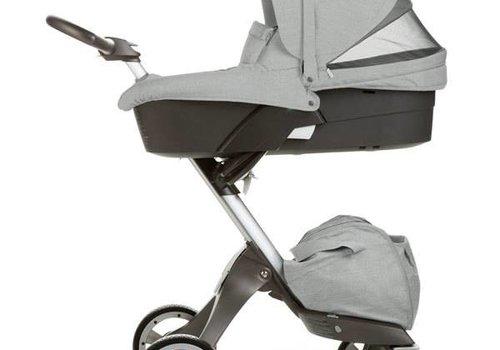 Stokke Stokke Xplory Carrycot In Silver Frame-Grey Melange Fabric