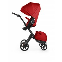 2017 Stokke Xplory 3 In1 Red -Black Chassis -Seat, Parasol, Cup Holder  and Textile Set