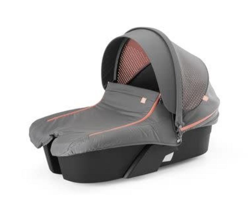 Stokke Xplory Carrycot In Black Frame-Athleisure Coral Fabric