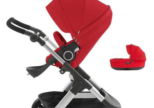 Stokke 2017 Stokke Trailz Aluminum Frame Stroller With Terrain Wheels  And Carrycot In Red