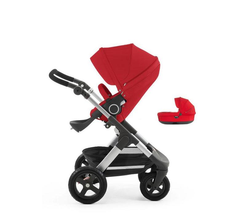 2017 Stokke Trailz Aluminum Frame Stroller With Terrain Wheels  And Carrycot In Red