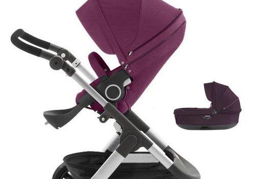 Stokke 2017 Stokke Trailz Aluminum Frame Stroller With Terrain Wheels And Carrycot In Purple