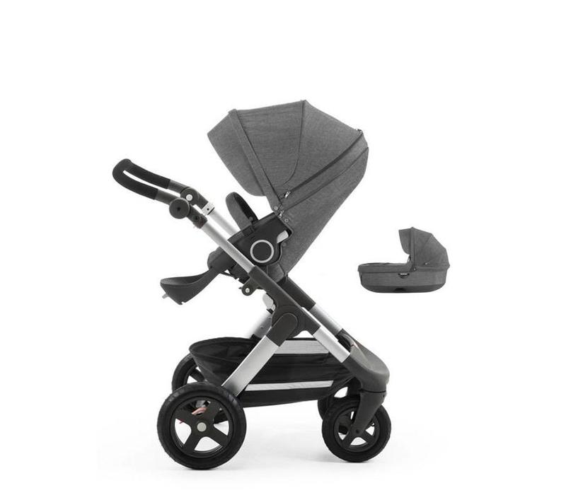 Stokke Trailz Stroller With Terrain Wheels And Carrycot In Black Melange