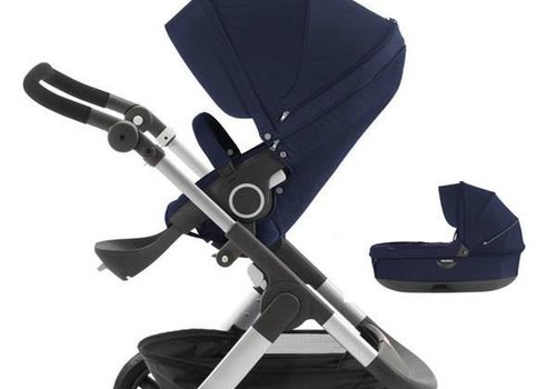 Stokke 2017 Stokke Trailz Aluminum Frame Stroller With Terrain Wheels And Carrycot In Deep Blue