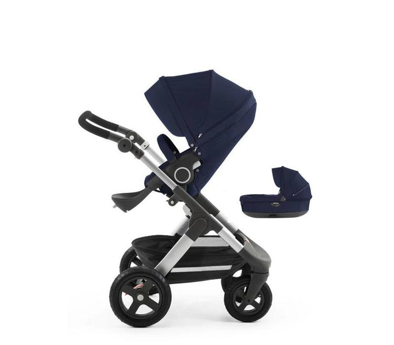 2017 Stokke Trailz Aluminum Frame Stroller With Terrain Wheels And Carrycot In Deep Blue