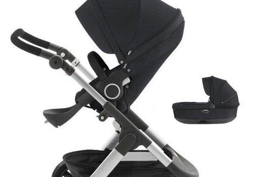 Stokke 2017 Stokke Trailz Aluminum Frame Stroller With Terrain Wheels And Carrycot n Black
