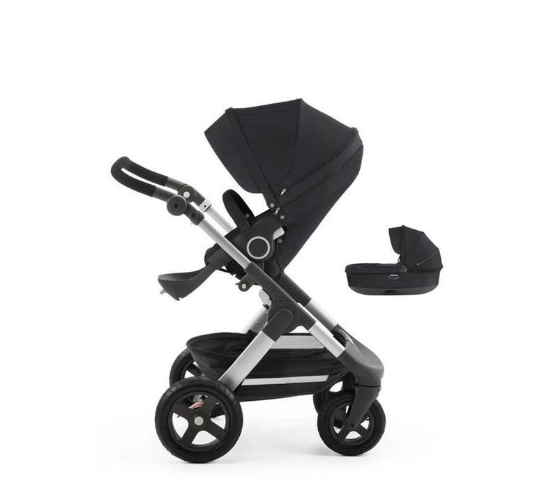 Stokke Trailz Stroller With Terrain Wheels With Carrycot In Black