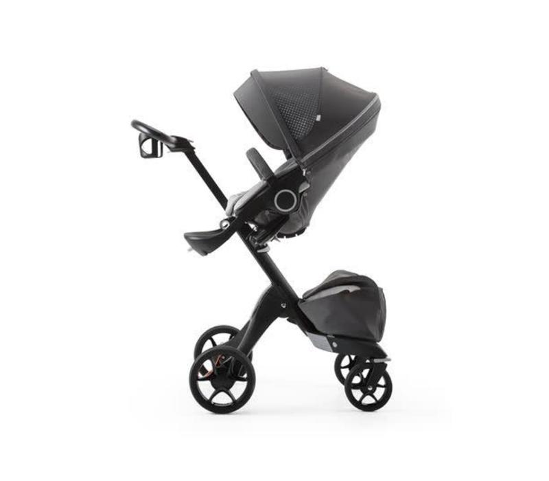Stokke Xplory Basic In Black Frame With Limited Edition Athleisure Grey Fabric