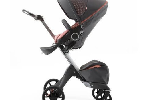 Stokke 2017 Stokke Xplory 3 In1 Silver Chassis -Athleisure Coral Seat, Parasol, Cup Holder  and Textile Set