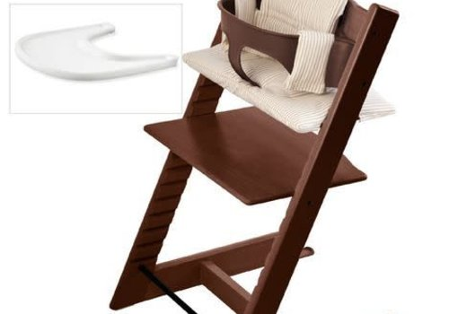 Stokke Stokke Tripp Trapp Complete Highchair In Walnut With Beige Stripe Cushion