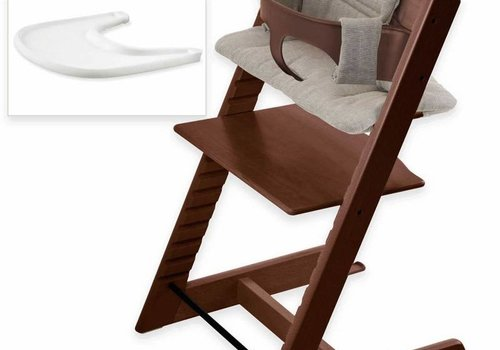 Stokke Stokke Tripp Trapp Complete Highchair In Walnut With Hazy Tweed Cushion