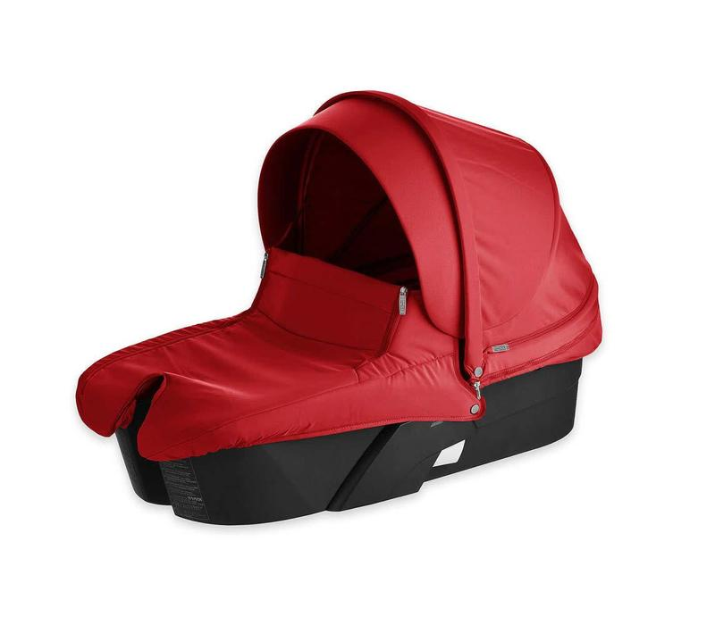 Stokke Xplory Carrycot With Textile Set In Red With Black Frame