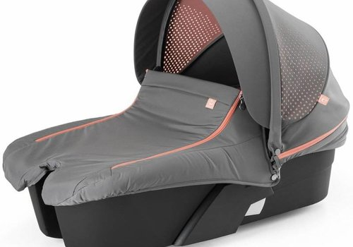 Stokke Stokke Xplory Carrycot In Silver Frame-Athleisure Coral Fabric