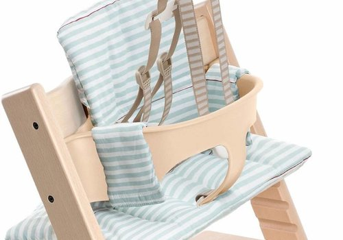 Stokke Stokke Tripp Trapp Cushions In Aqua Stripes (Coated)