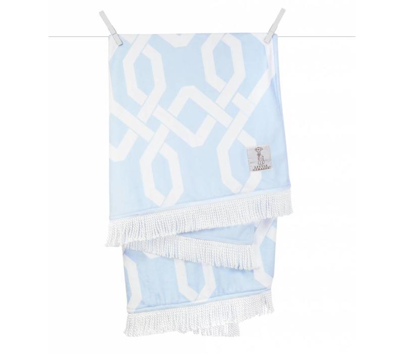 Little Giraffe Bliss Windowpane Blanket in Blue