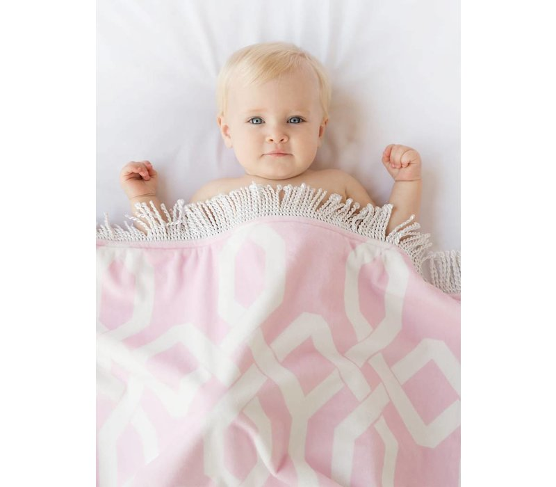 Little Giraffe Bliss Windowpane Blanket in pink