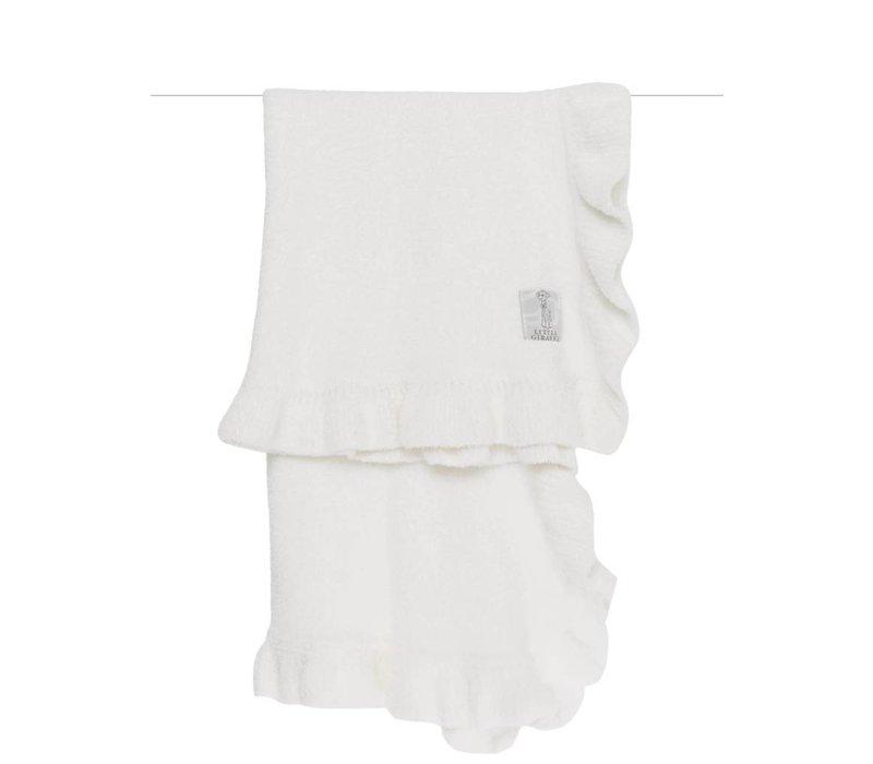 Little Giraffe Dolce Ruffle Blanket in White