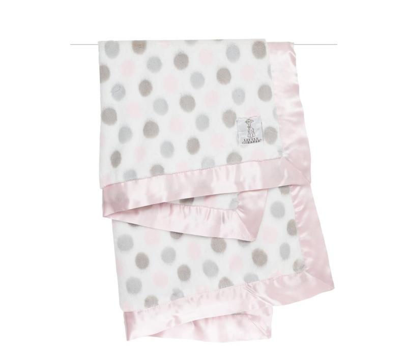 Little Giraffe Luxe Dot Blanket In Pink