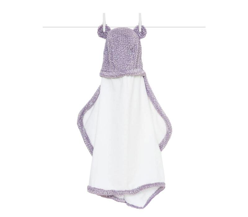 Little Giraffe Luxe Herringbone Towel With Ears In Lavendar