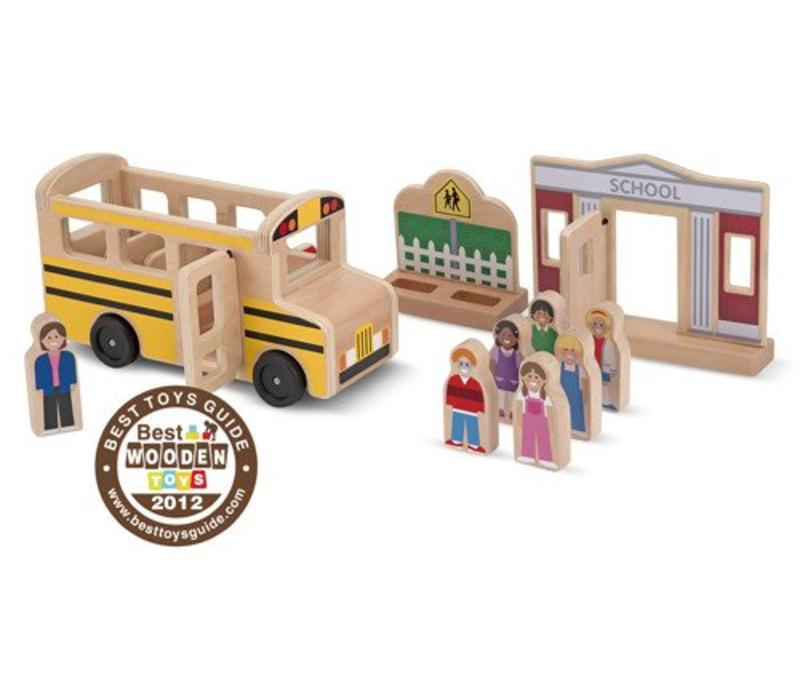 Melissa And Doug Whittle World Wooden School Bus Set
