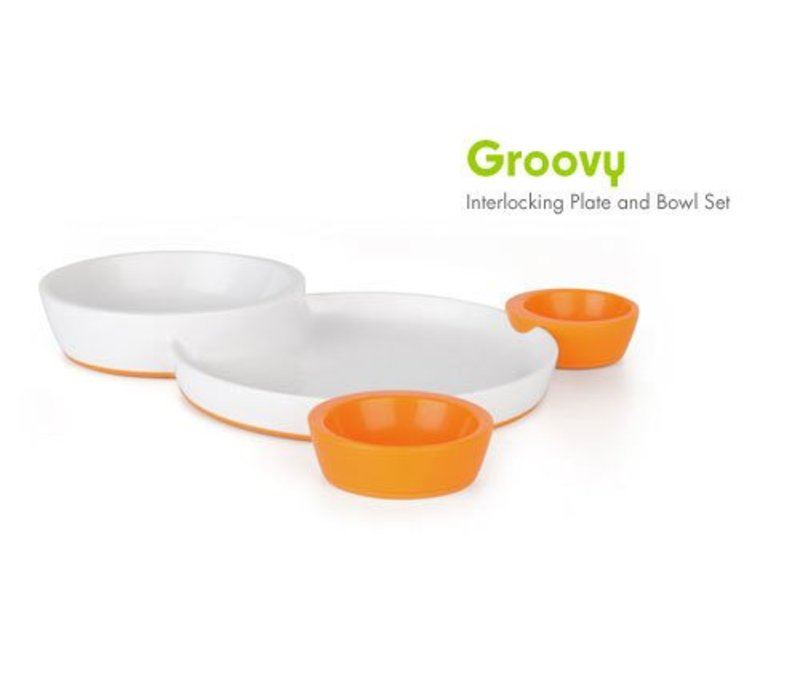 CLOSEOUT!!!! Boon Groovy Intelocking Plate & Bowl Set