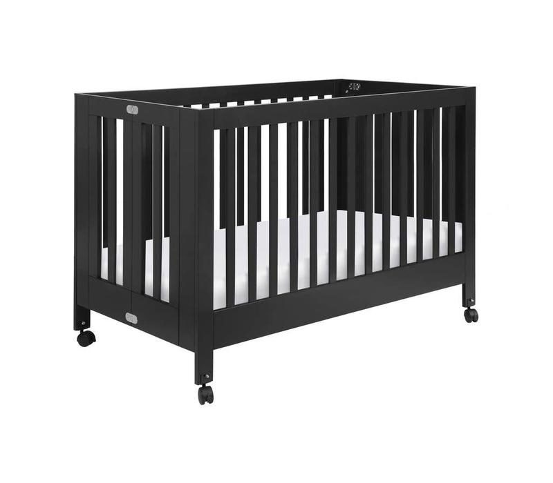 Baby Letto Origami Mini Crib In Black (Pad Included)