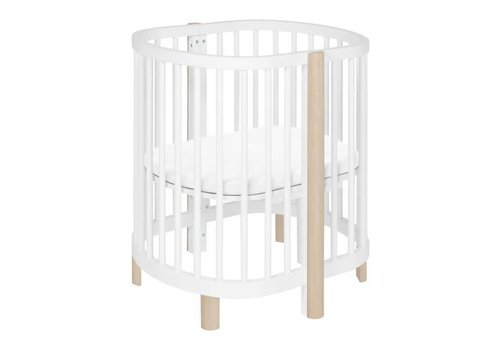 Baby Letto Baby Letto Hula Oval Convertible Crib with Mini/Bassinet Conversion In White-Washed Natural