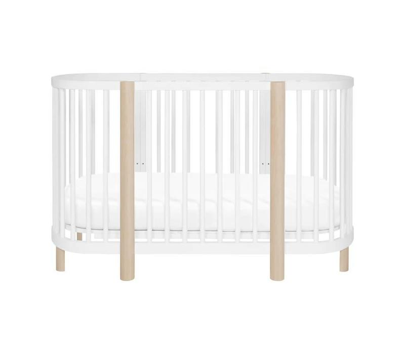 Baby Letto Hula Oval Convertible Crib with Mini/Bassinet Conversion In White-Washed Natural