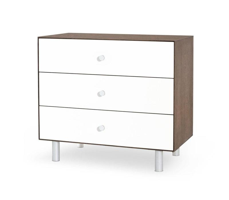 Oeuf Classic 3 Drawer Dresser In Walnut/ White