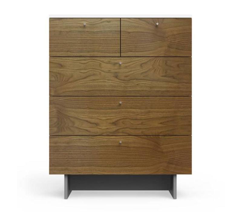 Spot On Square Roh 5 Drawer Dresser - White-Walnut