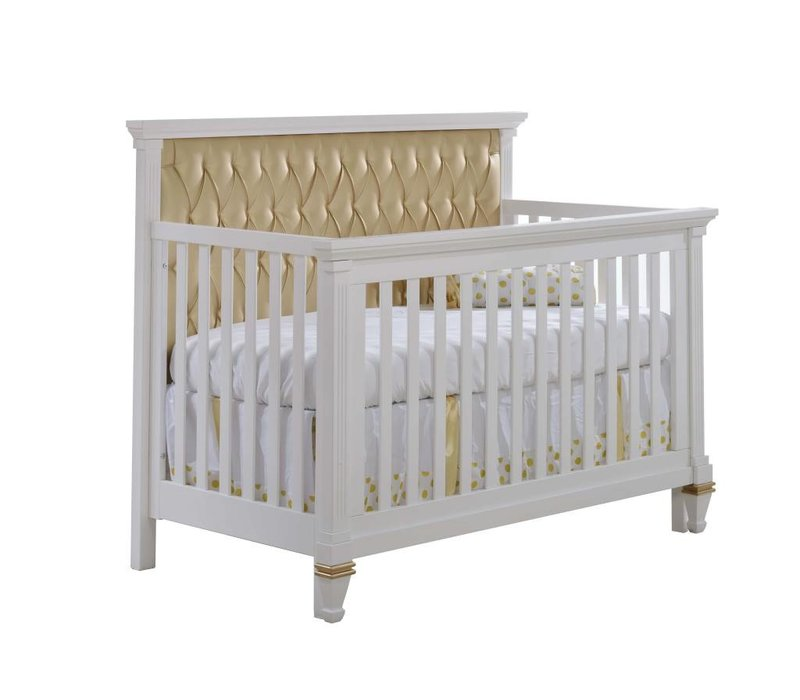 Belmont-Gold 4-in-1 Convertible Crib with tufted Panel In Gold (w/out rails)