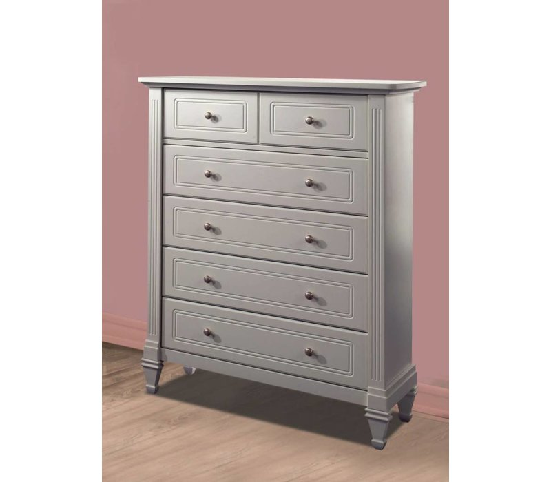 Natart Belmont 5 Drawer Dresser In Stone Grey