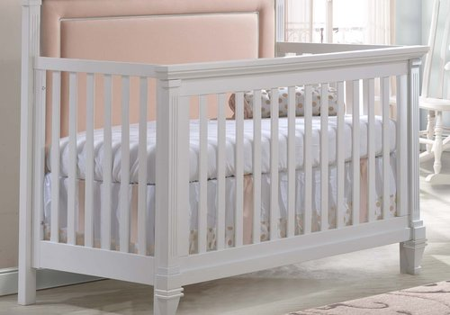 Natart Natart Belmont 4 In 1 Convertible Crib In White With Tufted Panel Blush