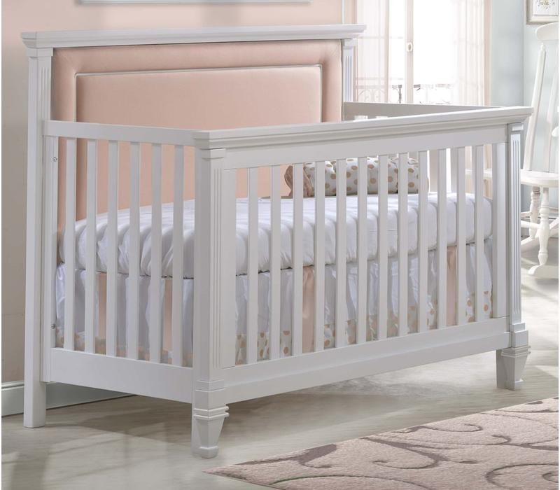 Natart Belmont 4 In 1 Convertible Crib In White With Tufted Panel Blush
