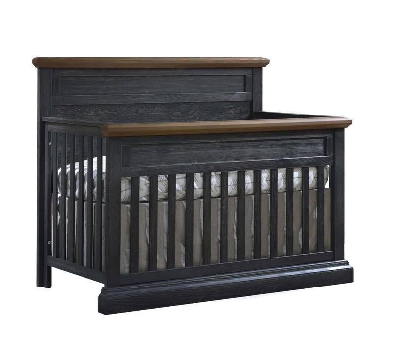 Natart Cortina  4-in-1 Convertible Crib  (w/out rails) Black Chalet -Cognac