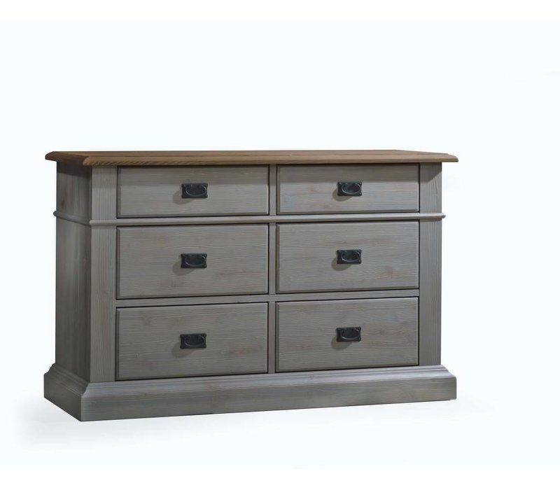 Natart Cortina Double Dresser In Grey Chalet-Cognac