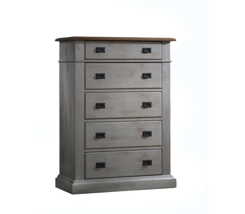 Natart Cortina 5 Drawer Dresser In Grey Chalet-Cognac