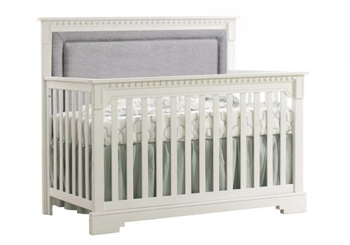 Natart Natart Ithaca 4-in-1 Convertible Crib In Rustic White with Upholstered Panel  (w/out rails) In Fog