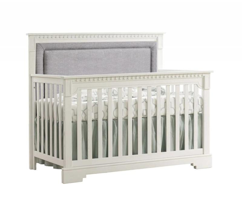 Natart Ithaca 4-in-1 Convertible Crib In White with Upholstered Panel  (w/out rails) In Fog