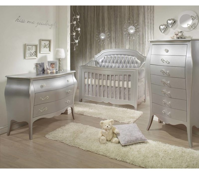 Natart Alexa Crib With Tufted Panel, Dresser, And Lingerie Chest