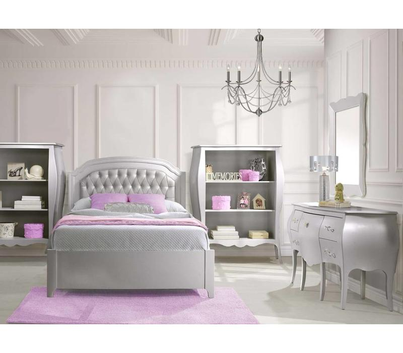 Natart Alexa Full Bed With Tufted Panel, Book Case, And Desk With Seating