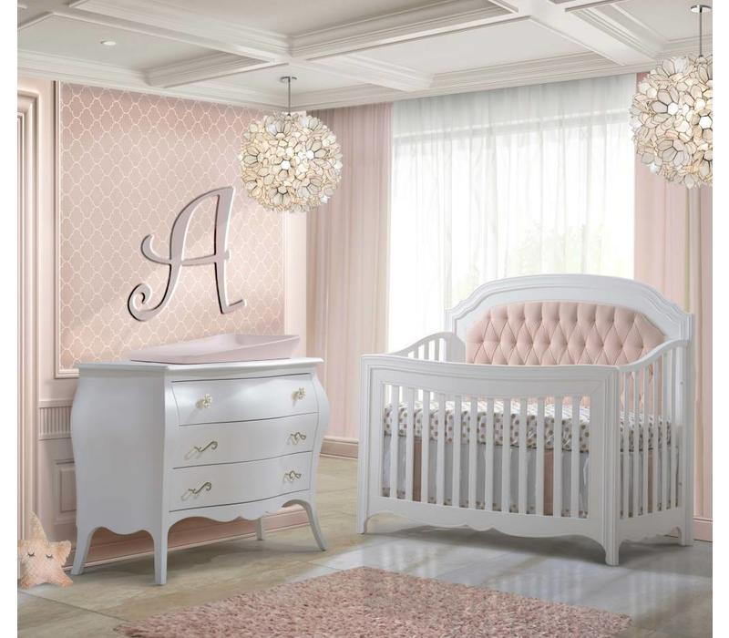 Natart Allegra Crib In White With Tufted Panel In Blush And Dresser